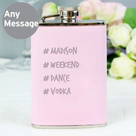 Hashtag Pink Hip Flask